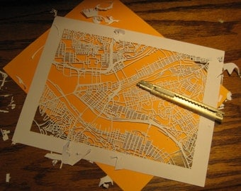 cut paper map of YOUR neighborhood (8x10)