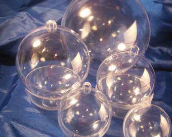 5 Clear Plastic Ball Fillable Ornaments 1 Each 5 Sizes