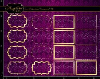 Instant download Gold Frames Digital Clipart Fancy Beautiful square Embellishments Scrapbooking rectangle Elements Posh graphics po00000-2