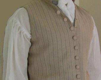 Mens Single breasted Regency waistcoat Custom made to order in size & fabrics