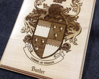 Family Crest Laser Engraved in Wood