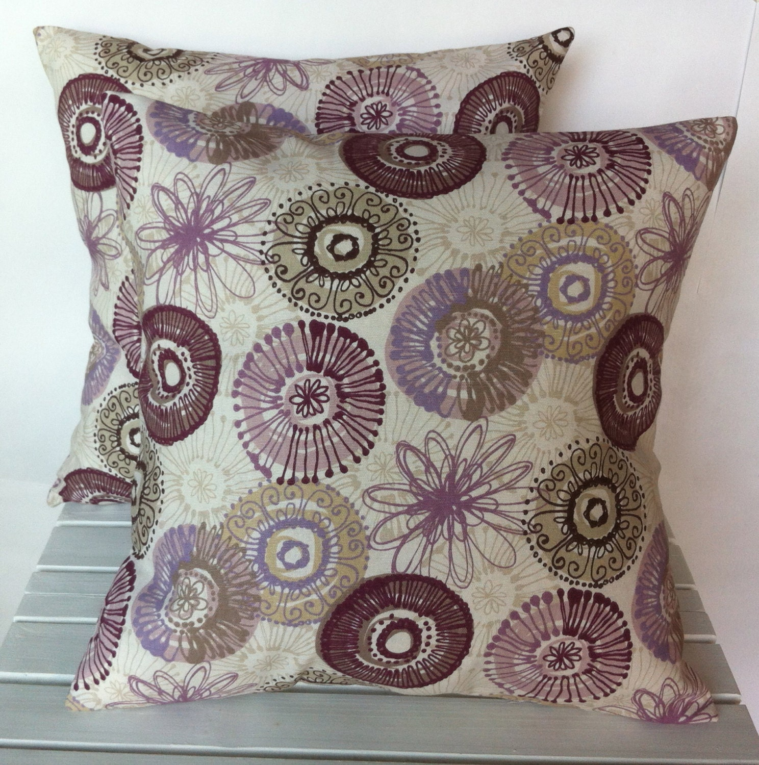 Purple and grey patterned floral pillow by ThatDutchGirlPillows