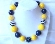 fall chunky bead necklace yellow navy blue chunky bubblegum bead necklace necklace girls necklace girl chunky bead necklace birthday