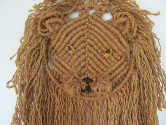 Huge Vintage Macrame Lion Wall Hanging Mid Century Macrame