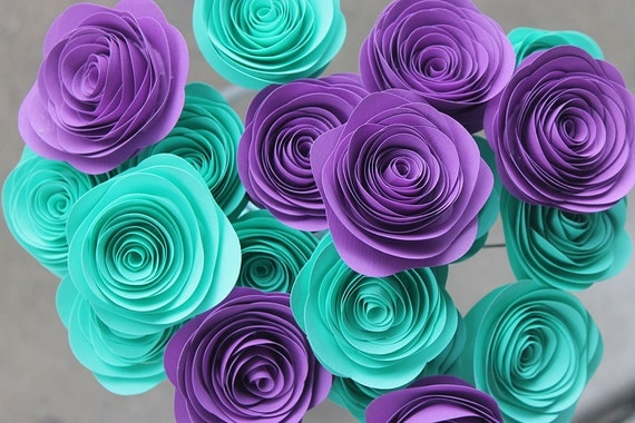 Teal And Purple Wedding Ideas: 24 Teal And Purple Paper Rosette Bouquet 2 By Scrappuchino