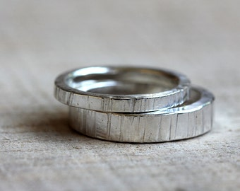 Tree bark wedding ring set