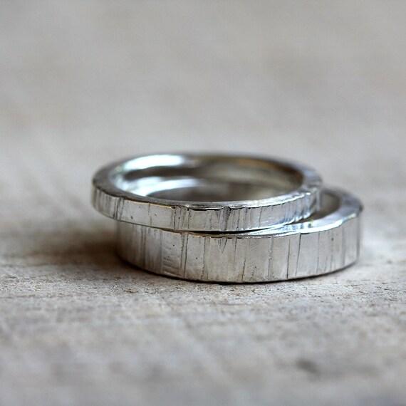 tree bark wedding ring set - Etsy Wedding Rings