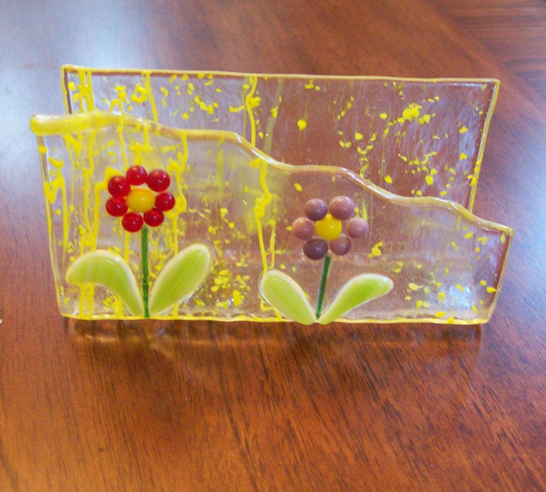 spring flower fused glass business card holder