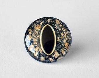25mm handmade glass eye cabochon - brown reptile or dragon eye - standard profile