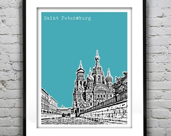Saint Petersburg Russia Poster The Cathedral of The Resurrection of Christ Art Print
