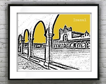 1 Day Only Sale 10% Off - Izamal Yucatan Mexico Poster Art Skyline Print  Mayan Ruins Maya