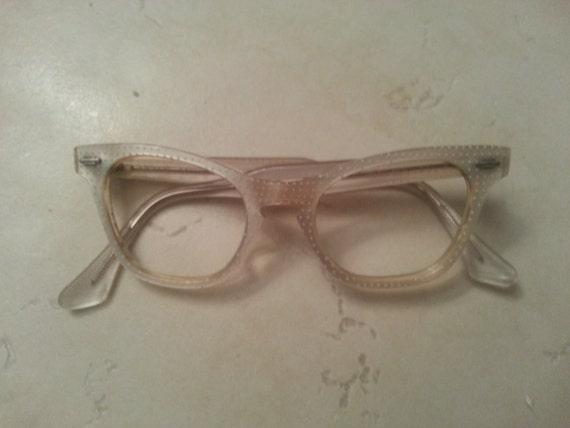 Art craft vintage child 39 s white eyeglasses by visionunlimited for Art craft eyeglasses vintage