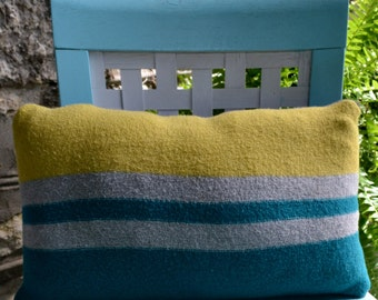 Yellow & Blue Striped Sweater Pillow
