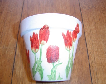Hand Painted and Decoupaged Decorative Flower Pots ( Tulips 2 )