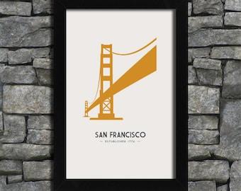 San Francisco - Golden Gate Bridge - City Print Poster - 11x17