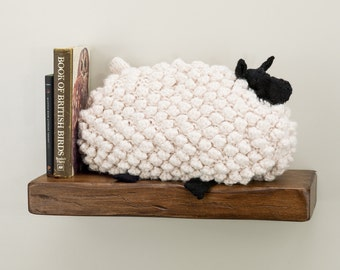Sheep pillow hand crochet in super chunky cream wool yarn.