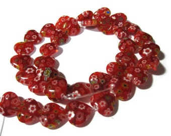 Red Millefiori Heart Beads 12mm 16inch