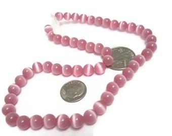 Hot Pink Cats Eye Beads 8mm