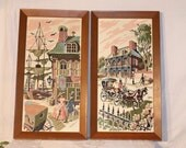 pair of completed paint by number framed pictures, neutral colors rose, greens, browns beige PBN
