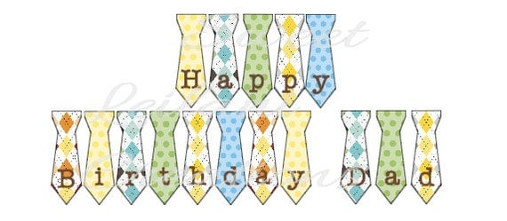 Items similar to Happy Birthday Dad Tie Banner - Instant Download ...