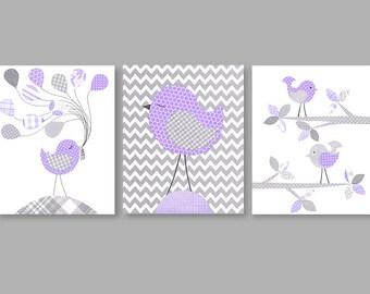 Bird Nursery Prints, Bird Nursery Art, Baby Girl Decor, Girl Nursery Art, Girl Bird Decor, Set of 3 Prints, Baby Shower Gift, Baby Art Print