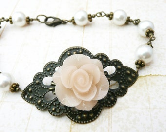 50% OFF Rose filigree and pearl bracelet, pearl jewelry, ivory resin flower bracelet, bridal jewelry, No. B3 1