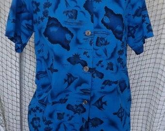 1960s Blue Hawiian Top