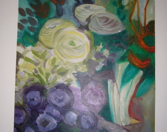 flower composition , oil on paper