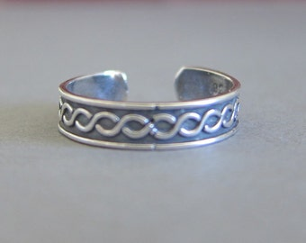 Adjustable Sterling Silver Infinity Toe Ring, Braided Toe Ring, Midi Ring, knuckle Ring.