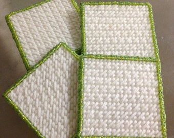 Seed bead coasters set of 4