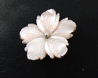 Mother of Pearl Carved Flower, Sterling Silver,  Wire Wrap, Set, 30 mm, E1261