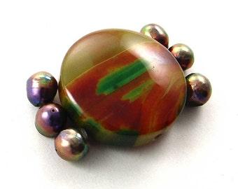 Brazilian Agate Focal Centerpiece,  Pearl Bead Set  E1341