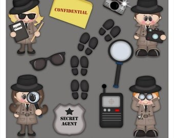 DIGITAL SCRAPBOOKING CLIPART - When I Grow Up Detective