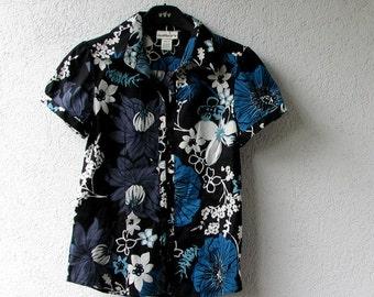 Vintage Black Floral Blouse, Summer Top, Cotton shirt, boho vintage clothing,  size S