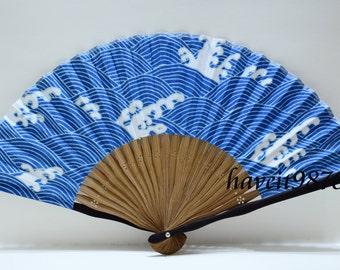Japanese hand fan folding fan blue sea with spindrift, Kimono Sensu hand fan,  folding fan, wedding fan