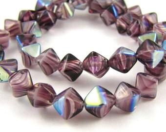 Amethyst Swirl AB 6mm Bicone Czech Glass Beads 50pc #848
