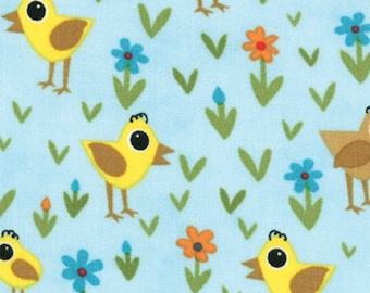 One Yard Oink A Doodle Moo - Chicks Daisies in Aqua Sky Blue - Cotton Fabric - by Jenn Ski for Moda (W209)