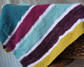 Striped Baby Blanket in Angora and Merino
