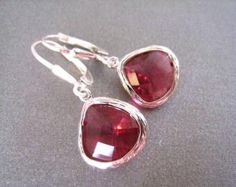 Ruby Glass Teardrop Earrings, Sterling Lever Backs, Bridesmaid, Wedding