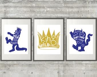 Playroom Art , Nursery Art  - Where The Wild Things Are Print - Set of 3 11x14 Prints