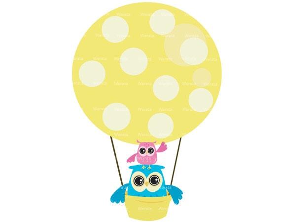 Items similar to Owl clipart Clip Art - owl balloons ...