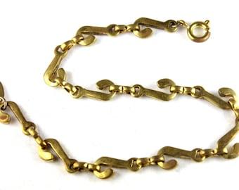 Vintage Brass initial J Chain Bracelet - J003-J