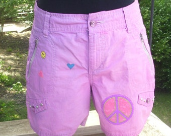 Pink Studded Shorts, Upcycled Dip Dyed Shorts, High Waisted Shorts, Gypsy Festival Shorts, OOAK Hippy Shorts, Cotton Shorts - Size 6