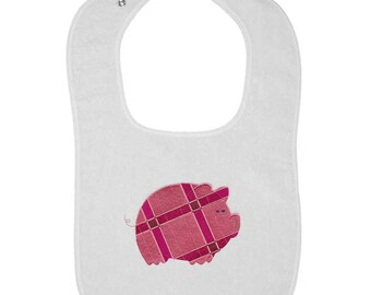 Patterned Piggy Embroidered Terry Cloth Bib