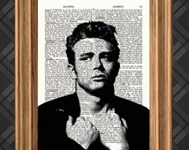 Dictionary Art Print - James Dean 3 - Up-cycled Antique Book Art Page, Wall Decor, Wall Art , Mixed Media Collage