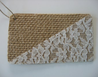 Gift Tag or Label, Burlap and Lace