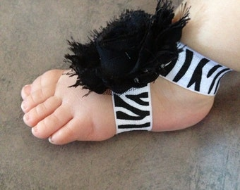 Baby Barefoot Sandals, Black and White Zebra sandals, newborn sandals, toddler sandals