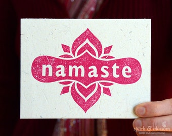 Greeting Card - Namaste - hand block printed on natural paper with pink ink