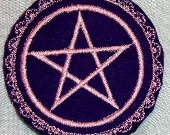 machine embroidery hair barrette wicca pagan druid witch Pentagram