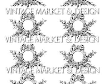 French Adornments Collage Sheet-Ormolu Frames- Digital Image Download
